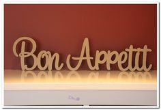Freestanding wooden sign Bon Appetit 15cm tall for kitchen, dinning, bar decor