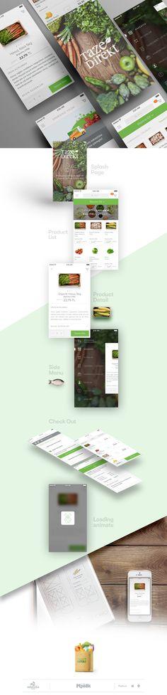채소나 과일을 판매하는 앱 ui디자인입니다. 깔끔한 레이아웃과 그린&화이트의 조합이 좋아보이는 디자인이라 참고사례로좋을 것같습니다.