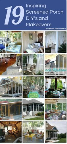 DIY screened porch ideas that we gathered together on Hometalk. From inspirational to makeovers to tips for screening. Screened Porches, Back Porches, Decks And Porches, Front Porch, Screened Porch Decorating, Diy Patio, Stain Concrete, Concrete Floor, Outdoor Drapes
