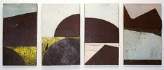 Top of the Morning, 1994  formboard, masonite, retro-reflective roadsign on craftboard  4 panels: 53 x 130cm (overall size)