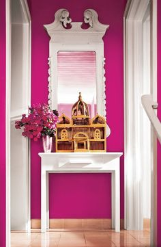 I NEED THIS color! Small projects can make the biggest impact on your home. Start with a fresh coat of Ralph Lauren Paint in Racer Pink. The right shade of color adds visual interest and complements your home decor. Home Design, Home Interior Design, Design Ideas, Interior Paint, Interior Decorating, Murs Roses, Ralph Lauren Paint, Deco Rose, Pink Room