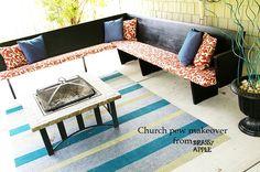 #ChurchPew Makeover BrassyApple.com  #DIY #outdoor decor