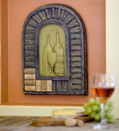 Small Tuscan Wine Cork Plaque $49.95 Love the color for a kitchen..& the plaque!