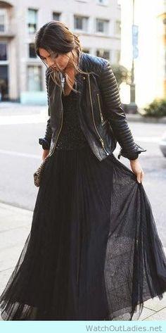 Rocker Skirt with moto leather jacket