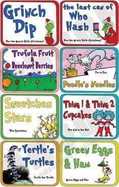 Dr Seuss  Food Label Set {great for Dr. Seuss Day} Dr. Suess ideas