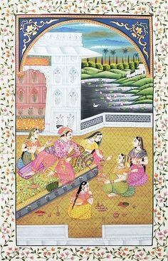 The Royal Harem (Miniature Painting on Silk Cloth - Unframed)