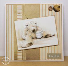 Wellington Bear Decoupage Tatty Teddy, Teddy Bear, Card Making Templates, Bear Card, Men's Cards, Masculine Cards, Paper Crafting, Handmade Cards, Cardmaking