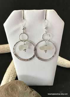 Sterling Sea Glass Earrings  Lake Erie Beach Glass  Gift for