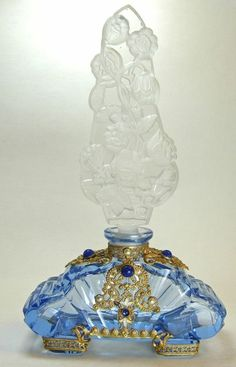 Large Blue Base Czech Jeweled Perfume Bottle by Janny Dangerous