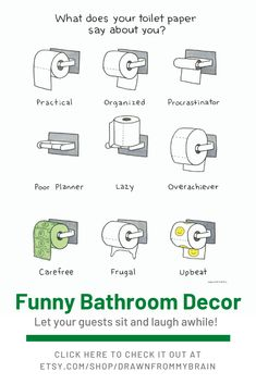 Add a little fun to your home with some funny bathroom art! There's a full range of bathroom humor to choose from, including quirky prints, weird art, and funny animal prints. They're also great for birthday gifts, dorm decor, and funny cubicle decor at the office. Check it out today! #etsy #bathroomart #bathroomdecor #funnybathroom