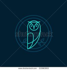 Vector owl icon in outline style - abstract emblem - stock vector