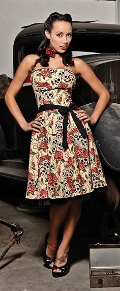 ROSE SKULL VINTAGE STYLE RETRO PIN UP ROCKABILLY 1950s DRESS S M L XL | eBay