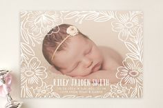 Penciled Flowers Birth Announcements by Alethea and Ruth at minted.com