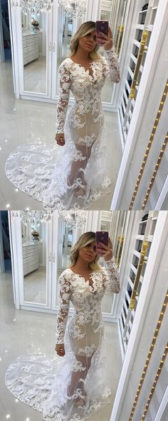 Sexy Prom Dress, Appliques Lace Prom Dress, Long Sleeve Evening Dress, Beaded Women Formal Dress vp7147 by VestidosProm, $154.10 USD