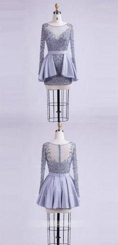 Long Sleeves Beaded Homecoming Dresses Homecoming Dresses With Sleeves, Homecoming Dress Homecoming Dresses 2019