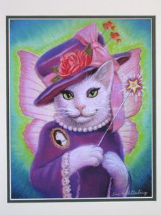 cute Victorian Cat Fairy fantasy art funny magic wand rose hat