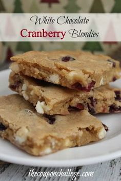Can you say YUM?!  Give this White Chocolate Cranberry Blondies Recipe a try.  White chocolate just makes everything better!