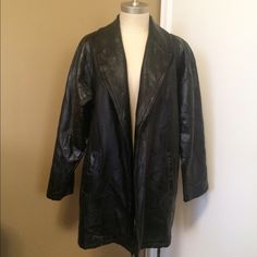 """vintage 80's black leather jacket could you help? i am a patchwork leather jacket. i lost my belt. my owner tossed me to the side like an old shoe. but once, i was all the rage! everybody wanted a jacket like me! it was the 80's! it was reaganomics! it was mtv! it was new wave! it was madonna! i was way cool! please buy me, find a belt for me and make me cool again! like cosby, before the accusations... like charles and di, before the divorce... like pee-wee herman, before the arrest... (33""""…"""