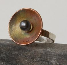 Sterling Silver, copper and black pearl ring £70.00