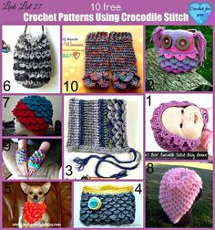 10 free crochet patterns using crocodile stitch great layer effect.would work great on an afghan or shawl for added warmth.