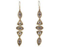 Miguel Ases - Pyrite and Swarovski Crystal Earrings in Under $250 Earrings at TWISTonline