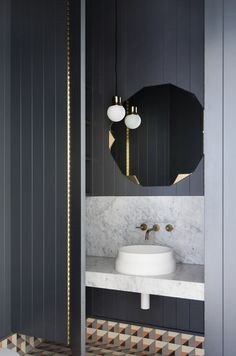Potentially could have a black tongue and groove feature wall behind bath?