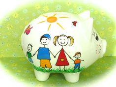 Geldgeschenke - Sparschwein XL Nr. 116 Familie - ein Designerstück von MM-Bastelparadies bei DaWanda Piggy Bank, Etsy, Save My Money, Wrapping Gifts, Crafting, Diy Home Crafts, Money Box, Money Bank, Savings Jar