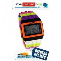 Reloj de pulsera SHHORS con forma de pieza de Lego