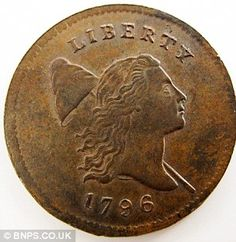 American coin dates back to 1796 and is one of just 1,400 ever made. Copper half cent was undiscovered for 50 years after owner's death in 1963