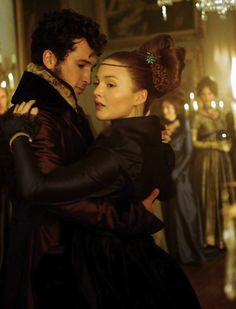 Ben Lloyd-Hughes as Bentley Drummle and Holliday Grainger as Estella inGreat Expectations (2012).