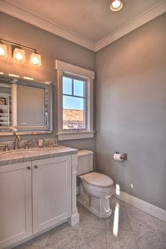 Master bath color scheme white and gray with silver bathroom decor. I think a black vanity would really add contrast and make it perfect!