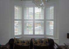 Window shutters for my living room Bay Window Shutters, Cafe Shutters, White Shutters, House Blinds, Blinds For Windows, Bay Windows, Shutter Blinds, Corner Window Treatments, Window Coverings