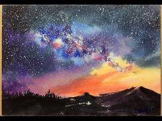 Aquarell Landschaft                                                                                                                                                                                 Mehr (galaxy painting diy easy) Watercolor Video, Watercolor Sky, Watercolour Tutorials, Watercolor Techniques, Watercolor Landscape, Painting Techniques, Watercolor Paintings, Simple Watercolor, Tattoo Watercolor
