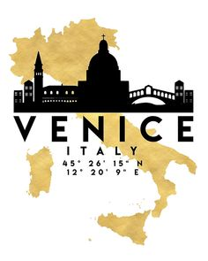 VENICE ITALY SILHOUETTE SKYLINE MAP ART -he beautiful silhouette skyline of Venice and the great map of Italy in gold, with the exact coordinates of Venice make up this amazing art piece. A great gift for anybody that has love for this city.  italy venice downtown silhouette skyline map coordinates souvenir gold deificus art