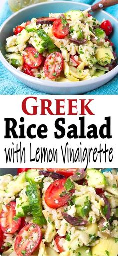 The perfect potluck salad! This easy rice salad recipe has all of the flavors of your favorite Greek salad and it comes together in just 15 minutes. 125 calories and 4 Weight Watchers SP Healthy Potluck, Potluck Salad, Potluck Recipes, Side Dish Recipes, Rib Recipes, Steak Recipes, Potato Recipes, Cookie Recipes, Chicken Recipes