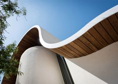 Architect Michail Georgiou merged two forms typical in Byzantine church architecture to create the unusual curved shape of this chapel in Cyprus