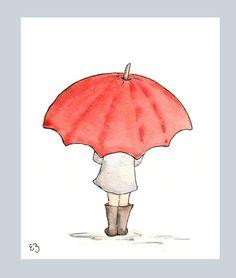 The Red Umbrella. Print Nursery Art Wall Decor The Red Umbrella. Umbrella Girl, Red Umbrella, Nursery Wall Art, Wall Art Decor, Child Draw, Umbrella Painting, Easy Drawings, Framed Wall Art, Art Sketches