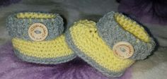 handmade with love button crocheted baby shoes/booties grey + lemon 0-3 months  in Baby, Clothes, Shoes & Accessories, Other Clothing, Shoes & Accs. | eBay!