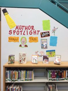 Author spotlight library display made by /lacemeier/ Elementary Library Decorations, School Library Displays, Middle School Libraries, Elementary School Library, Class Library, Reading Library, Library Lessons, Elementary Schools, Library Ideas