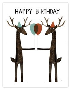 Happy Birthday deer illustrations for Red Cap by Jon Klassen | For more creative inspirations, visit www.designisyay.com