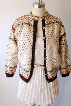 Vintage 60's Fair Isle cardigan sweater / hand knit by hausofmirth