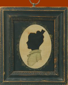 Antique American Silhouette Pair With Rare Painted Bodies. Notice the small bodice which shows a keen eye of the artist as often modern silhouette artists make the bust line or bodice too thick and stylized, this is accurate. Silhouette Artist, Love Silhouette, Vintage Silhouette, Silhouette Portrait, Early American, Heart Art, Paper Art, Folk Art, Picture Frames