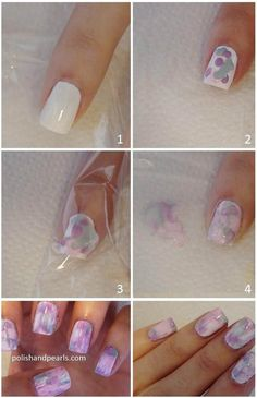 1. Apply White Coat of Nail Polish 2. Dab dots of multiple colors 3. Smear with plastic bag 4. Clean up around nail 5. Apply top coat ~Enjoy!~