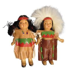 Vintage All-Bisque Native American Indian Dolls