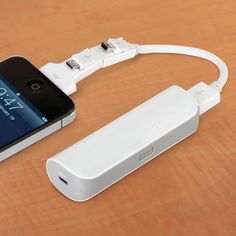 Pocket-sized battery that charges an iPhone or any USB device. Eliminating the need to carry multiple chargers and power cords, the battery provides 25 hours of talk time for iPhones and Android smartphones, and 4 1/2 hours of use for an iPad.