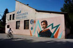 Btoy & Uriginal - Wall at Duga Resa - Croatia 2012 - Portrait of Nikola Tesla for Kunstbunker Festival Nikola Tesla, Famous Street Artists, Bansky, Stencil Art, Cool Walls, Big Ben, Graffiti, Scene, Urban