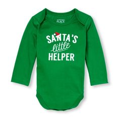 Unisex Baby Long Sleeve 'Santa's Little Helper' Little Talker Bodysuit