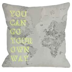 """Map-inspired pillow with a lime typographic motif.  Product: PillowConstruction Material: Polyester cover and premium polyester down alternative fillColor: Gray and limeFeatures:  Zipper closureMade in the USAInsert included Dimensions: 18"""" x 18""""Cleaning and Care: Cover is machine washable"""