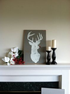 Reindeer RUDOLPH Silhouette Hand Painted Rustic Wood by ASign4Life