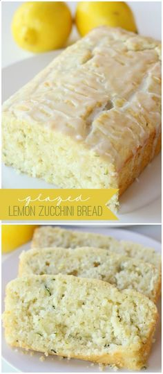 Glazed Lemon Zucchini Bread - This looks SOO YUMMY! I LOVE zucchini bread and I LOVE lemony desserts! The best of both in one delicious bread! Glazed Lemon Zucchini Bread Recipe, Zucchini Bread Recipes, Zucchini Bread Cake Mix Recipe, Zuchinni Lemon Bread, Zuchinni Bars, Courgette Bread, Zucchini Bread Muffins, Zucchini Cupcakes, Zucchini Banana Bread